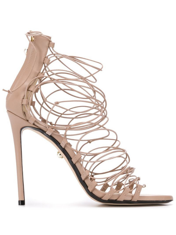 Alevì multi-strap front heeled sandals in neutrals