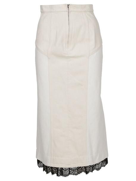 Alexander Mcqueen Lace Trim Skirt in white