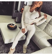 pants,blouse,leggings,sweater,white