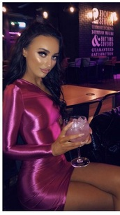 dress,satin,hot pink,one shoulder,silk