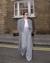 coat,oversized coat,pants,wide-leg pants,grey pants,white shoes,plaid,grey coat,long coat,white t-shirt
