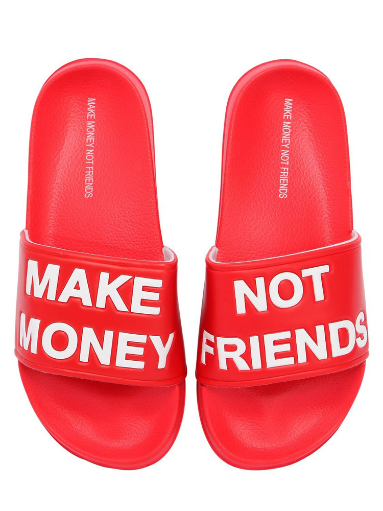 MAKE MONEY NOT FRIENDS Logo Slide Sandals in red