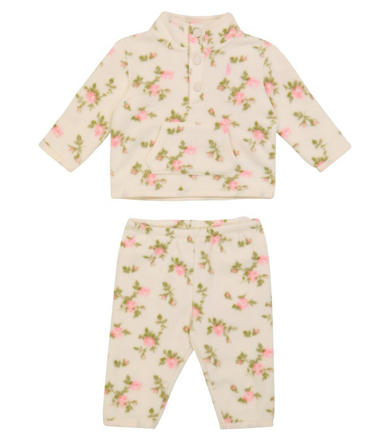 Polo Ralph Lauren Kids Baby floral fleece sweater and pants set in white