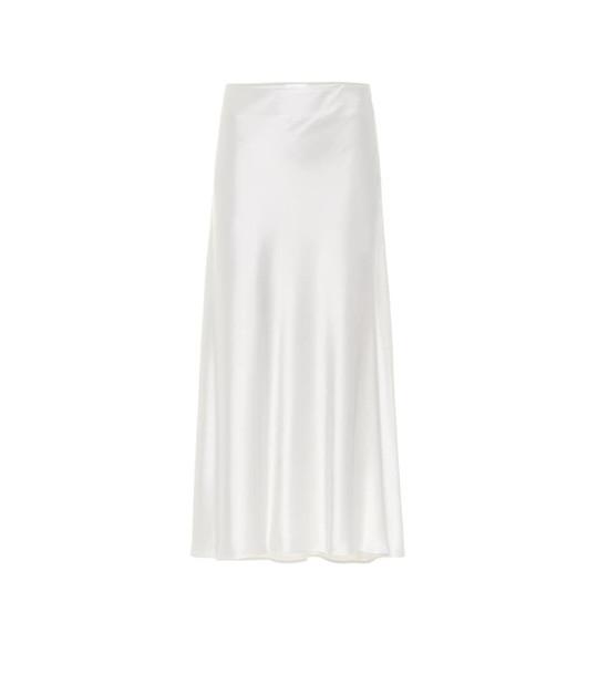 Galvan Valletta satin midi skirt in white