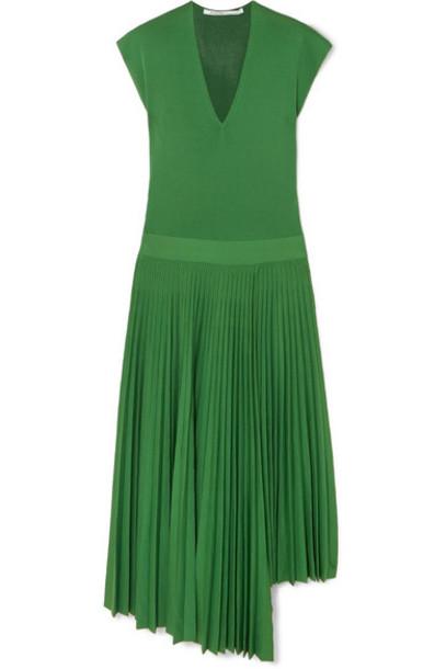 Agnona - Asymmetric Pleated Silk And Cotton-blend Dress - Green
