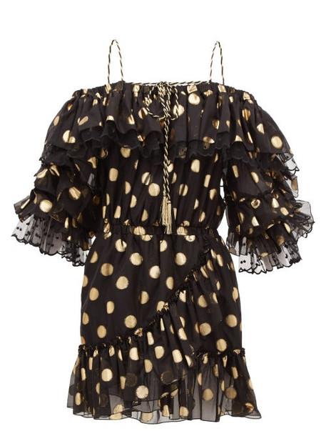 Dundas - Off-the-shoulder Polka-dot Silk-blend Mini Dress - Womens - Black Gold