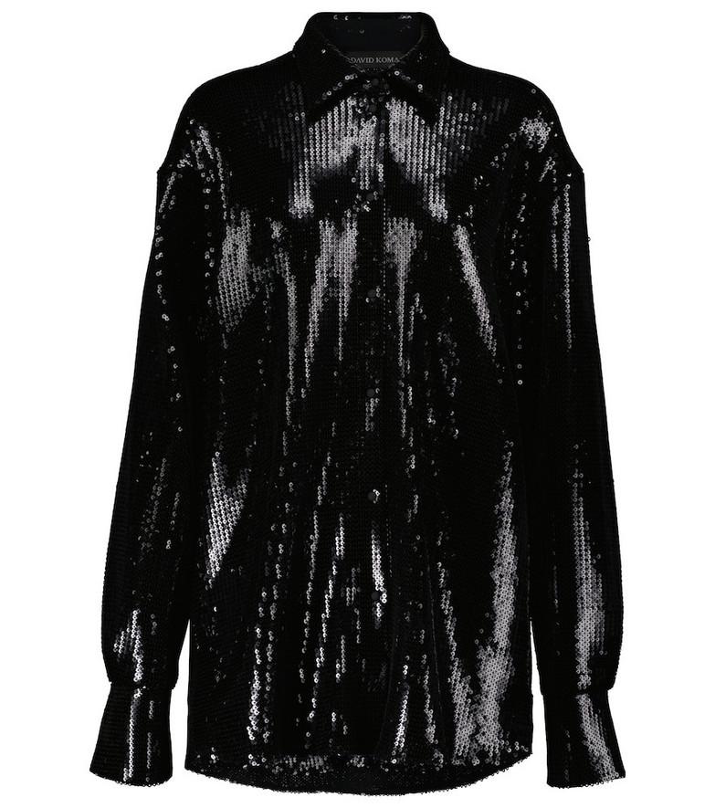 David Koma Sequined shirt in black