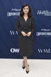 dress,black and white,polka dots,wrap dress,selena gomez,celebrity,midi dress