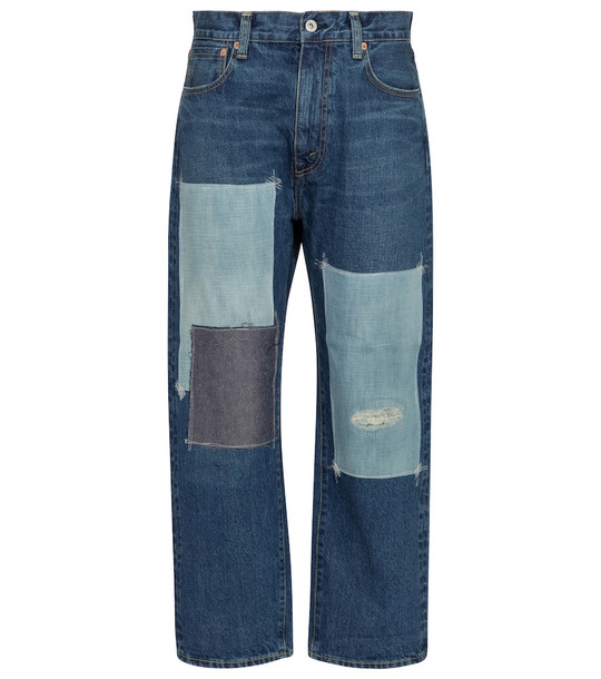 Junya Watanabe High-rise patchwork straight jeans in blue
