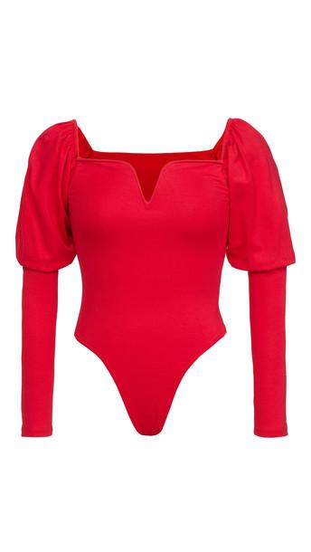 BB Dakota Romance Language Thong Bodysuit in crimson / red
