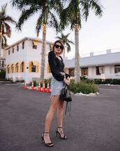 skirt,denim skirt,high waisted skirt,black top,long sleeve top,black sandals,black bag