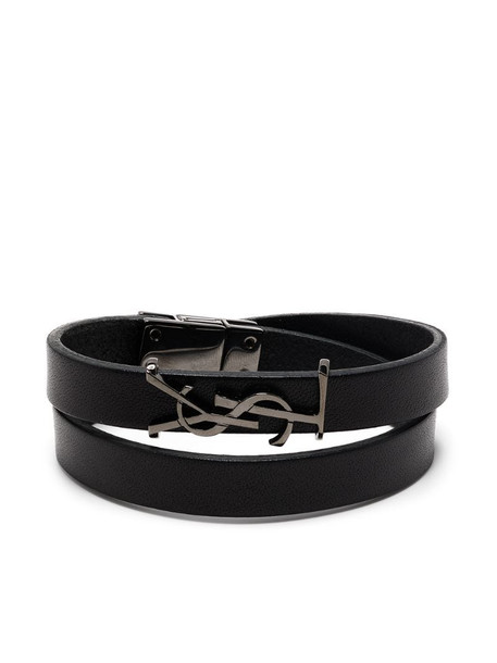 Saint Laurent Opyum logo plaque bracelet in black