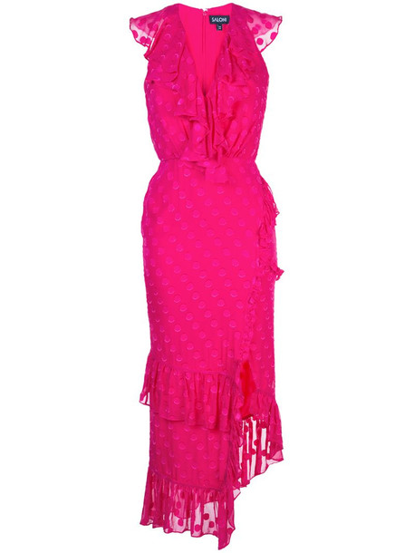 Saloni fitted polka dot dress in pink