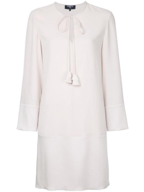 Paule Ka long sleeve woven mini dress in neutrals