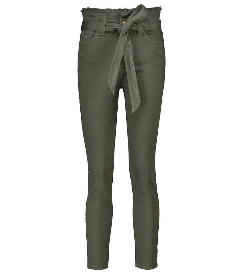 7 For All Mankind High-rise skinny jeans in green
