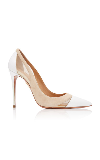 Aquazzura Savoy Leather Mesh and Suede Pumps in neutral
