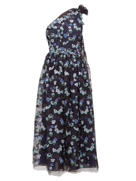 Luisa Beccaria - One Shoulder Floral Sequinned Gown - Womens - Navy Multi