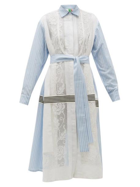 Rianna + Nina Rianna + Nina - Lace-panels Striped Cotton-poplin Shirt Dress - Womens - Multi