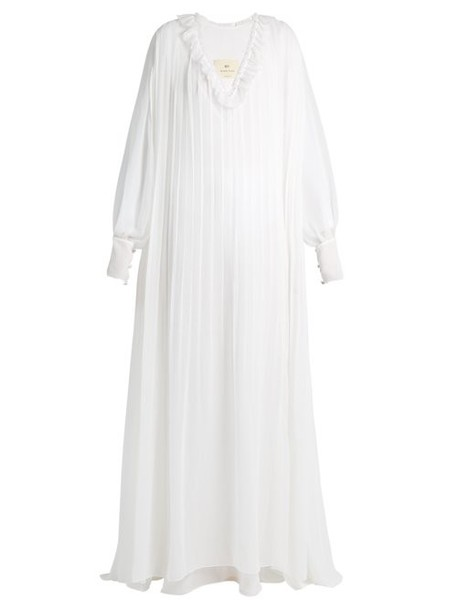 By. Bonnie Young - Ruffle Trimmed Pleated Silk Gown - Womens - White