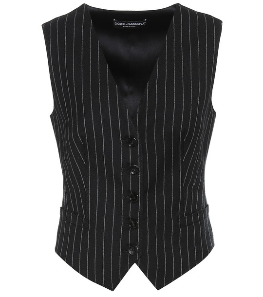 Dolce & Gabbana Striped wool and silk vest in black