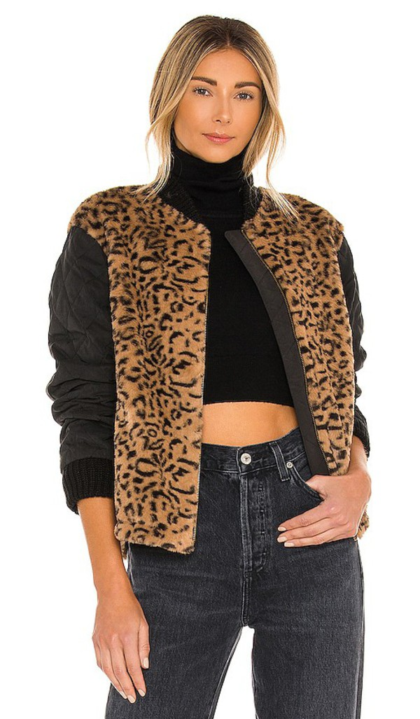HEARTLOOM Elina Fur Jacket in Brown in leopard