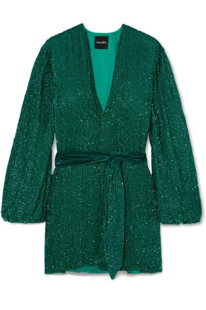 Retrofête - Gabrielle Velvet-trimmed Sequined Chiffon Mini Wrap Dress - Emerald