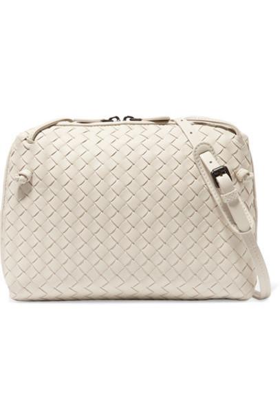 Bottega Veneta - Nodini Small Intrecciato Leather Shoulder Bag - Off-white