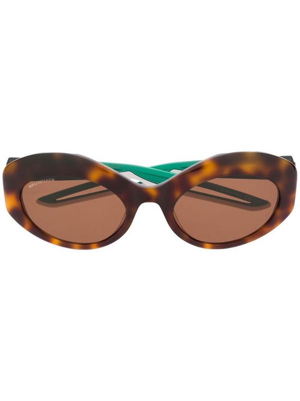 Balenciaga Eyewear Hybrid oval-frame sunglasses in brown