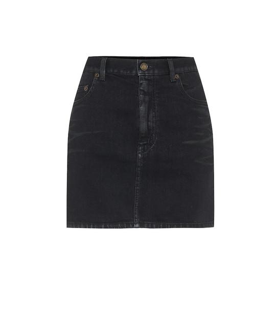 Saint Laurent Denim miniskirt in black
