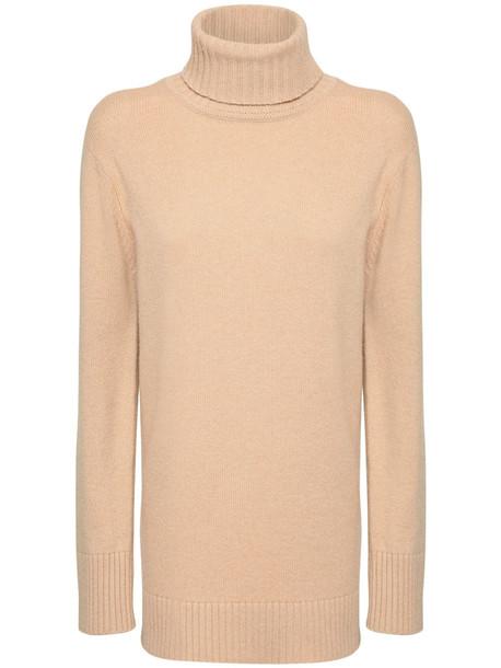 MAX MARA Wool Blend Turtleneck Sweater Dress in beige