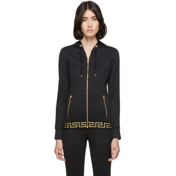 Versace Underwear Black Greek Key Hoodie