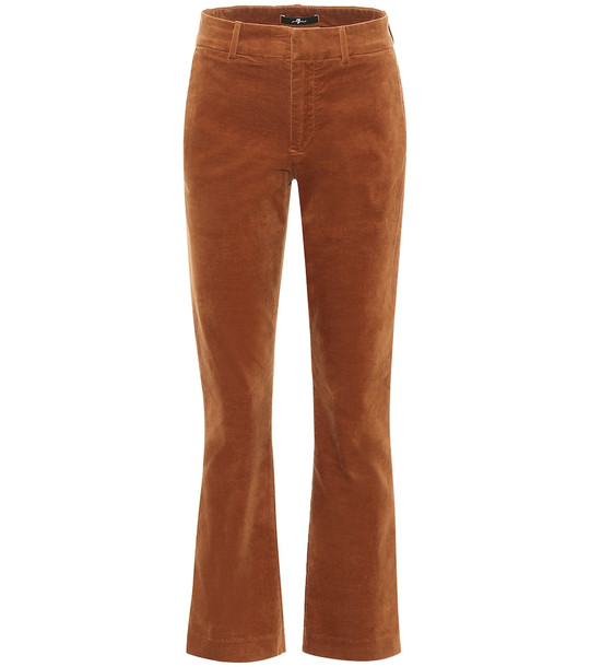 7 For All Mankind High-rise bootcut velvet pants in brown