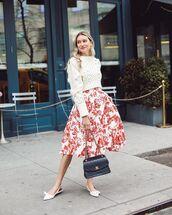 shoes,white sandals,black bag,chanel bag,midi dress,floral dress,white sweater