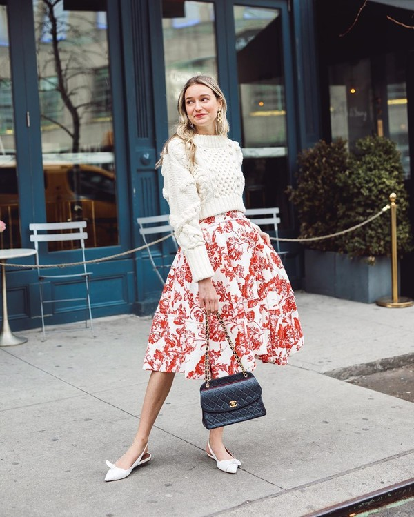 shoes white sandals black bag chanel bag midi dress floral dress white sweater