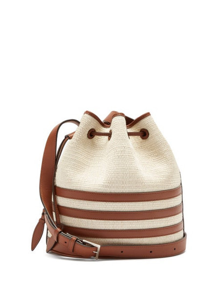Hunting Season - The Drawstring Leather And Iraca Palm Bucket Bag - Womens - Beige Multi