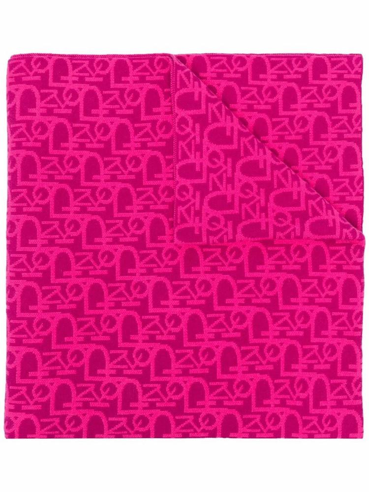 Pinko intarsia-logo knitted scarf in pink