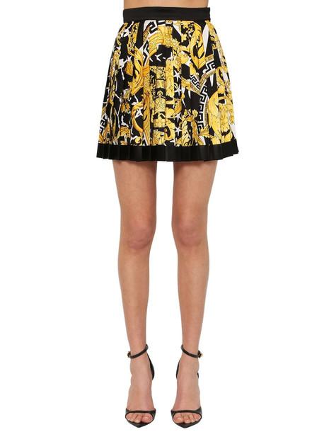 VERSACE Printed Silk Twill Mini Skirt in black / gold