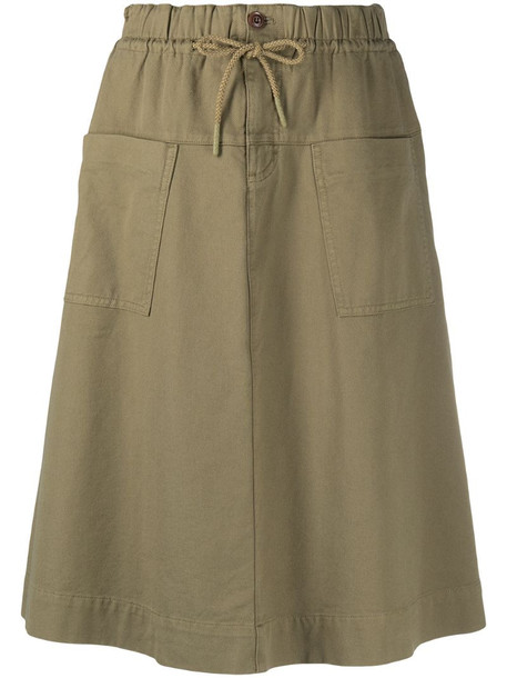 Closed drawstring A-line skirt in green