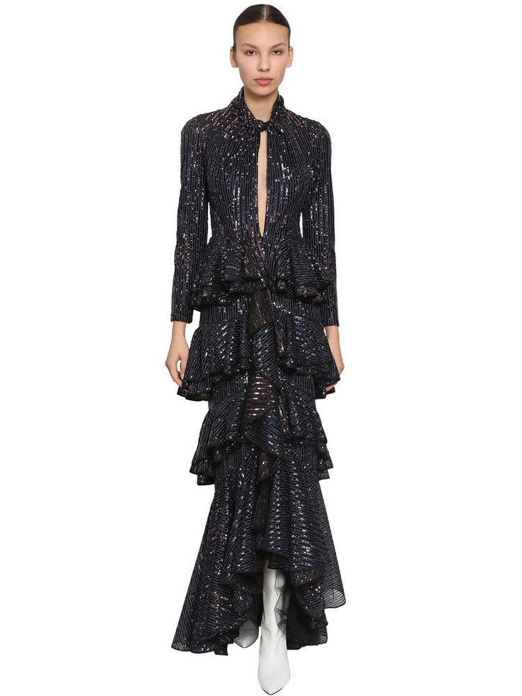 INGIE PARIS Long Sequined Tulle Dress in navy
