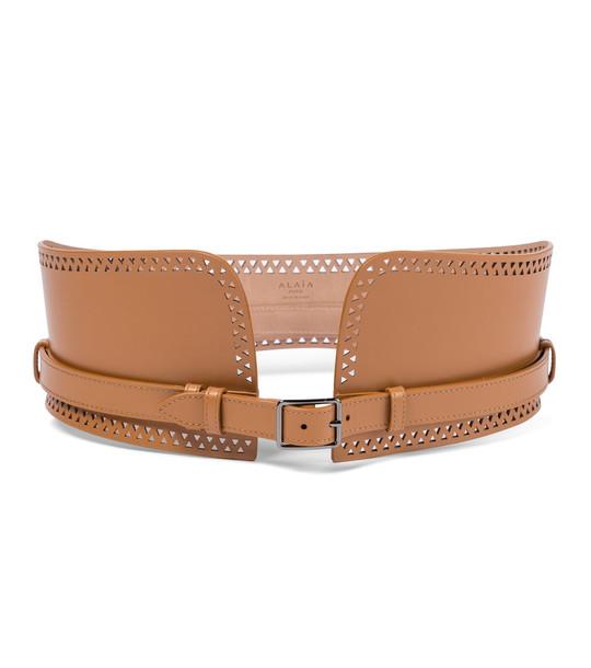 Alaïa Leather corset belt in brown