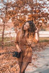 kolorowa dusza,blogger,jumpsuit,bag,tights,jewels,shoes,fall outfits,romper,rust,fall colors