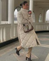 bag,handbag,gucci bag,black boots,straight pants,oversized coat