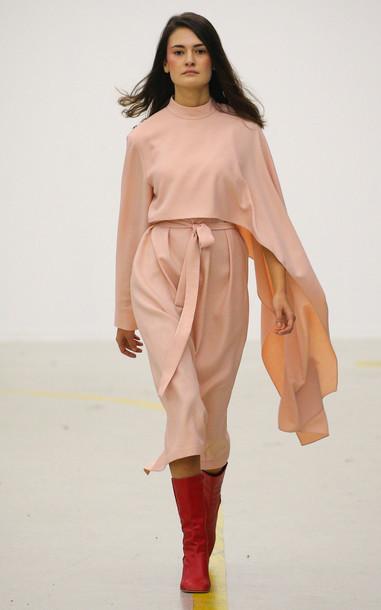 MATÉRIEL Asymmetric Crepe Cape Dress in pink