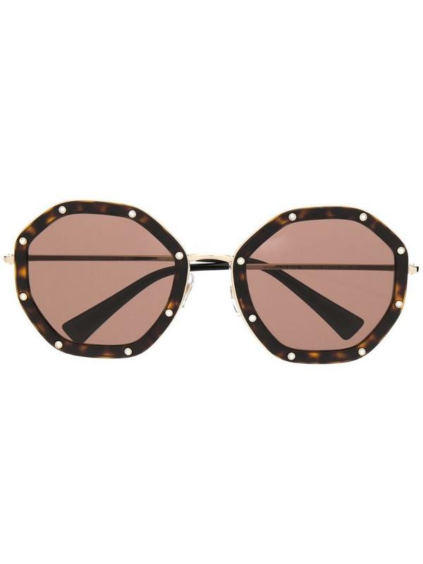 Valentino Eyewear rhinestone-embellished octagonal-frame sunglasses in black