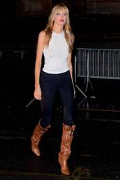 jeans,tank top,white,white top,martha hunt,model off-duty,spring outfits,boots