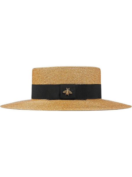 Gucci bee-embellished boater hat in brown
