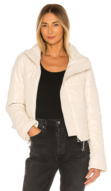 LTH JKT Cay Cropped Leather Puffer Jacket in White