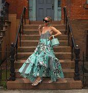 dress,floral dress,ruffle dress,sleeveless dress,maxi dress,white sandals,bucket bag