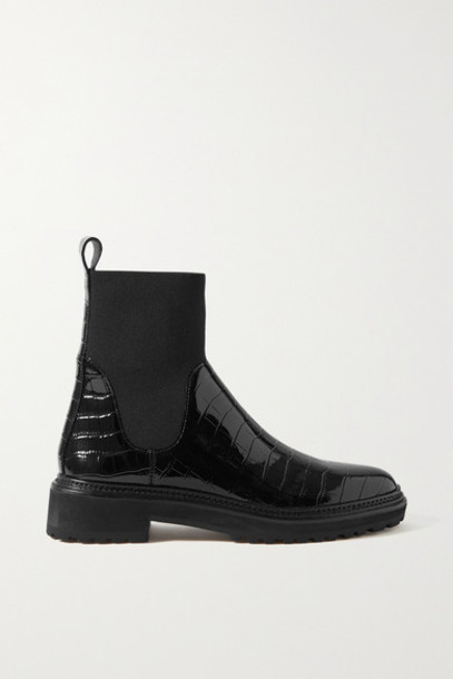 Loeffler Randall - Bridget Croc-effect Patent-leather Chelsea Boots - Black