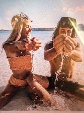swimwear,marie fe,marie fe and jake snow,orange swimwear,ruffle bandeau bikini,instagram